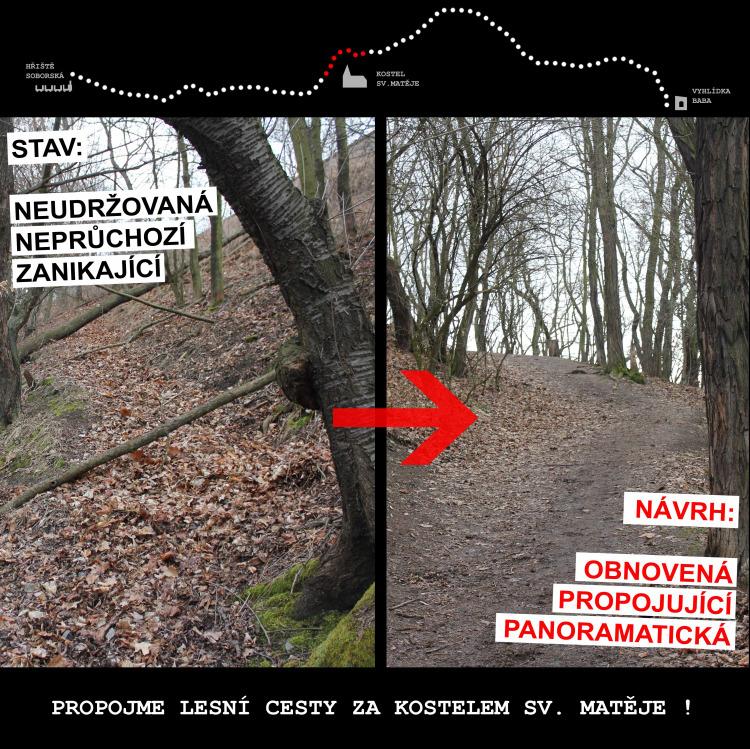 Propojení lesních cest za kostelem sv. Matějě