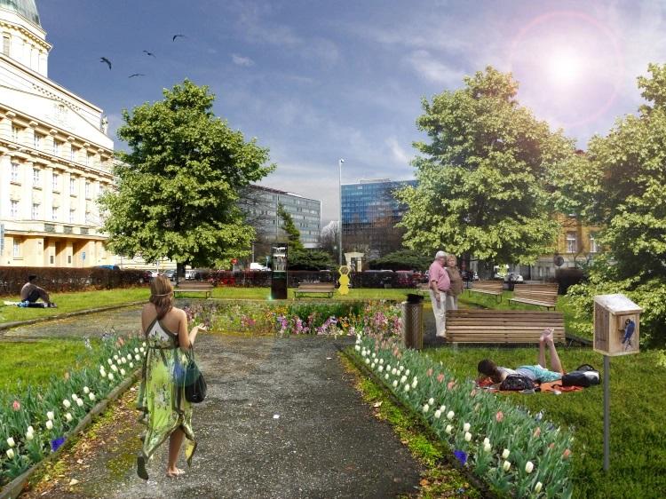 Park Jaroslava Meda - revitalizace prostoru před KTF UK