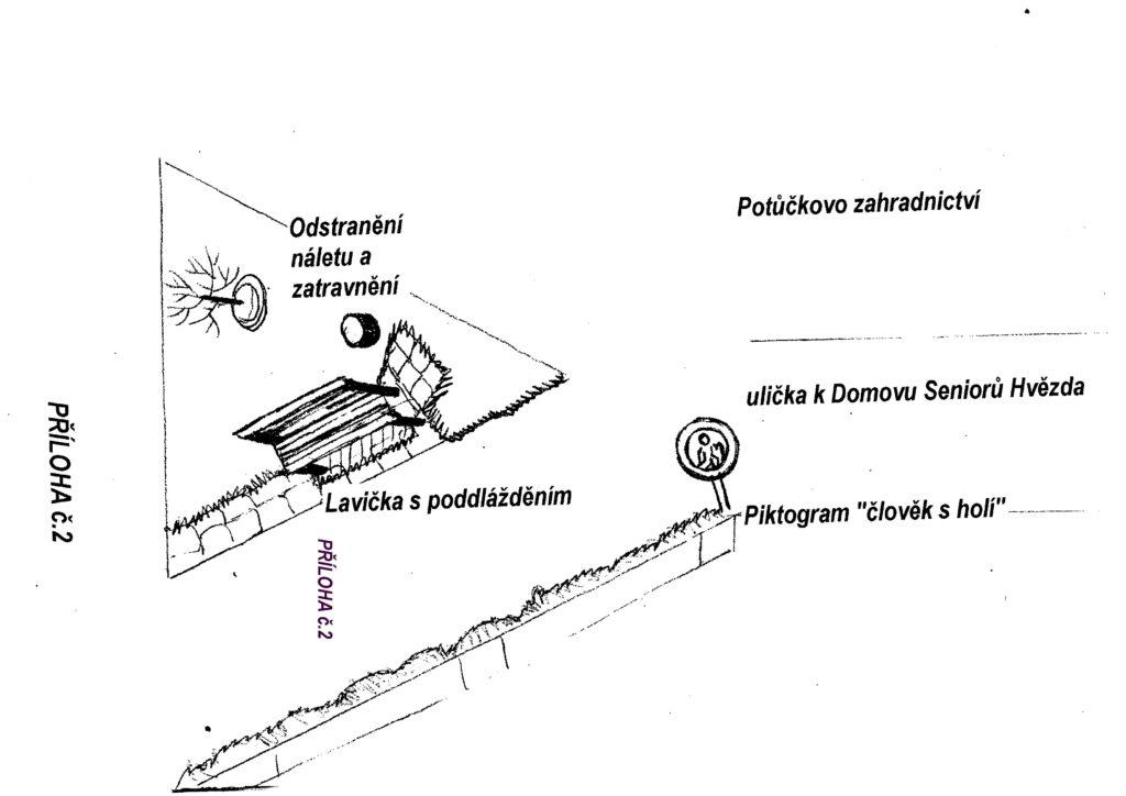 Zřízení odpočinkového místa s lavičkou u konečné stanice tramvají Bílá Hora