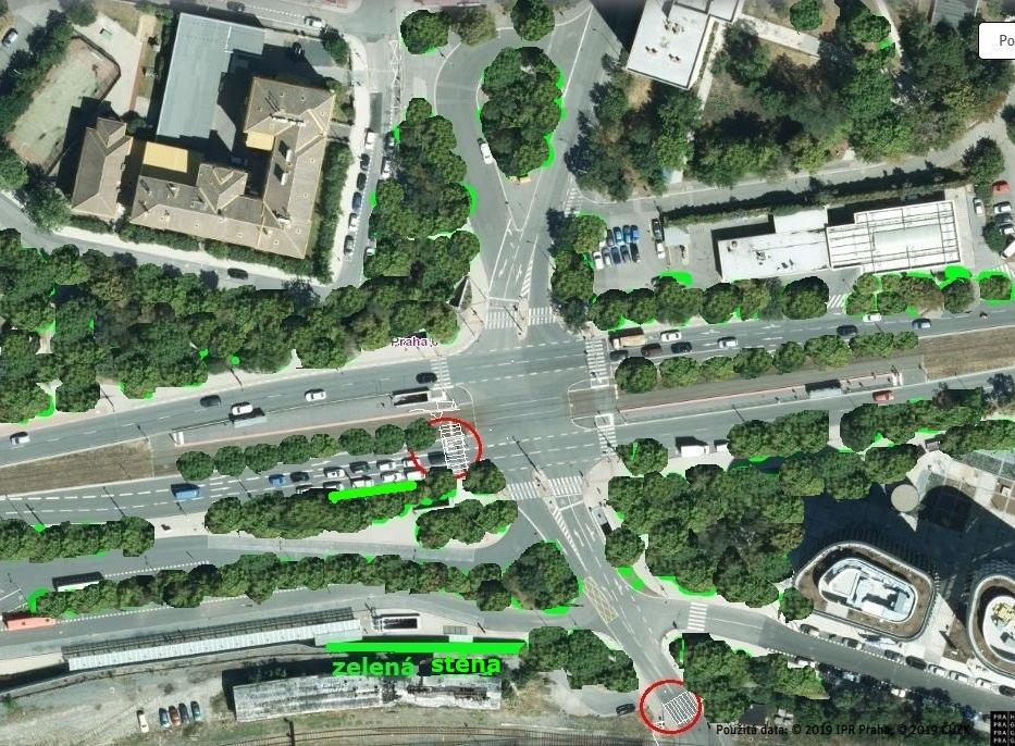 Zelená křižovatka Veleslavín - stromy, přechody a zelená stěna