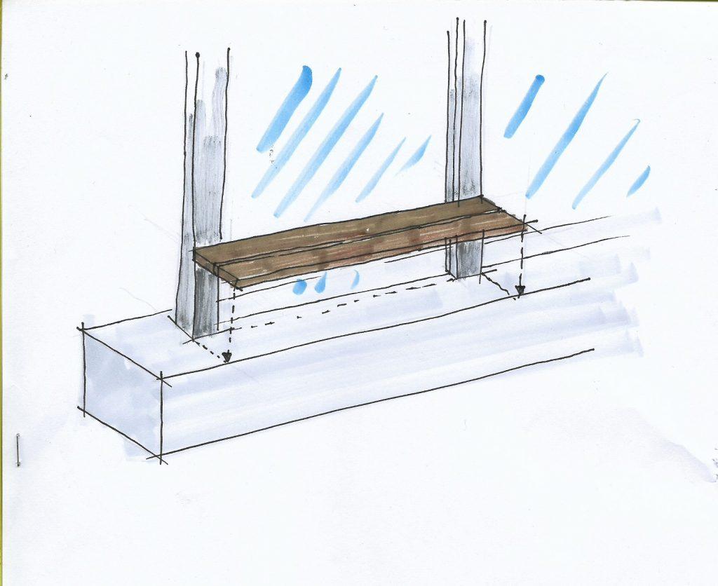 Lavička na parapetu u výstupu z metra Dejvická